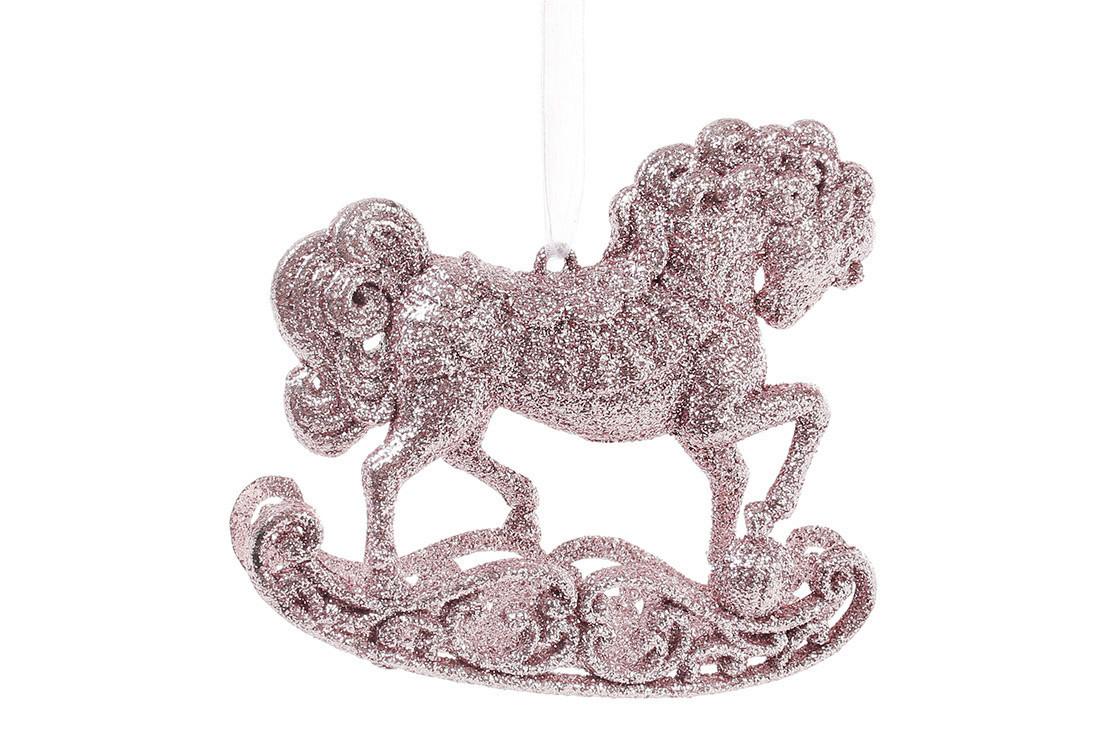 Елочная подвеска Лошадка 10см, цвет - светло-розовый, пластик, в упаковке 45шт. (788-450)
