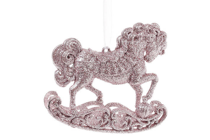 Елочная подвеска Лошадка 10см, цвет - светло-розовый, пластик, в упаковке 45шт. (788-450), фото 2