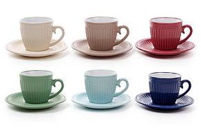 Чашка керамічна 250мл з блюдцем, 6 видів 344-083
