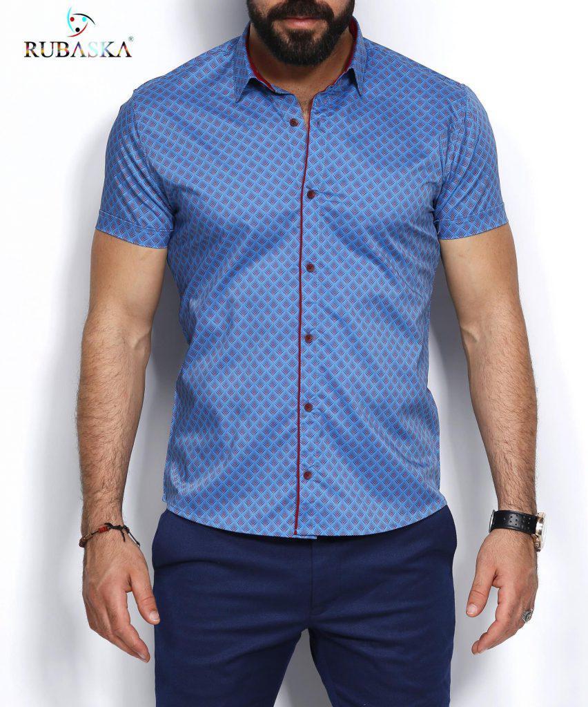 fd4066658ed Мужская рубашка в узор с коротким рукавом - Интернет-магазин