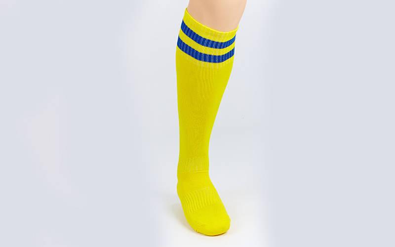 Гетры футбольные взрослые желтый с синей полосой CO-3256-YB