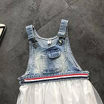 Стильный джинсовый сарафан с кружевной юбкой  для девочки, фото 2