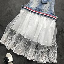 Стильный джинсовый сарафан с кружевной юбкой  для девочки, фото 3