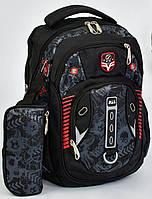 Рюкзак школьный + пенал для мальчиков 4, 5, 6, 7 класс, средняя школа, ортопедический. Черный