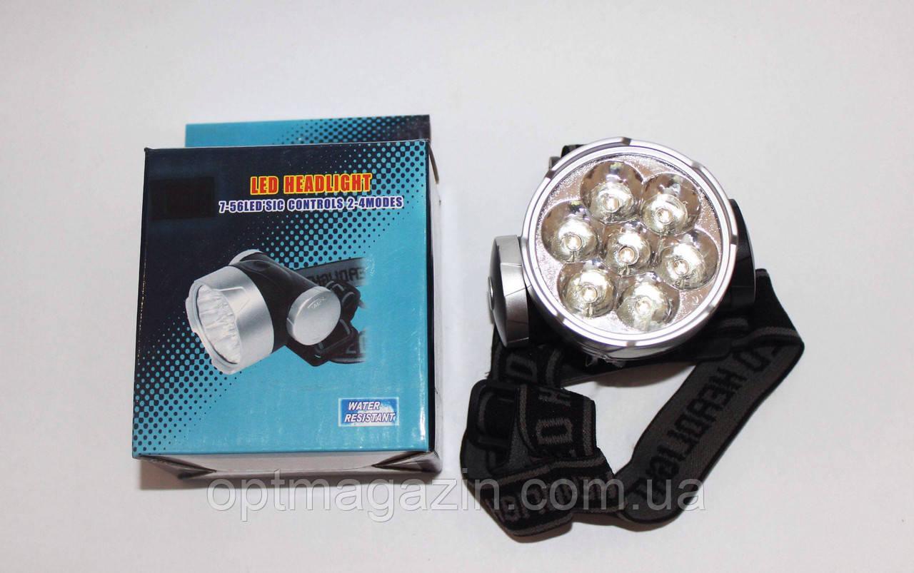 Фонарьй налобный LED 7 ламп 3*АА-батарейки