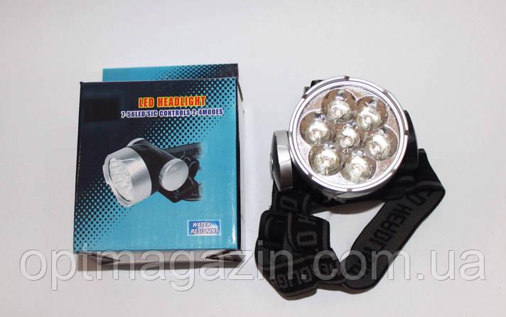 Фонарьй налобный LED 7 ламп 3*АА-батарейки, фото 2