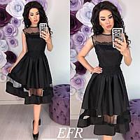 Выходное вечернее нарядное платье с пышной юбкой кружевом и гипюром чёрное, фото 1
