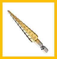 Ступенчатое шаговое сверло по металлу 4-12мм