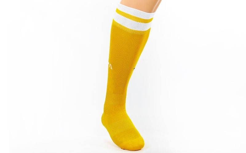 Гетры футбольные юниор Fifa желтые с белой полосой CO-5609-Y (реплика)