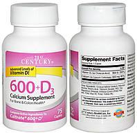 21st Century, Кальций, 600 мг + Витамин Д3, 800 МЕ, 75 таблеток