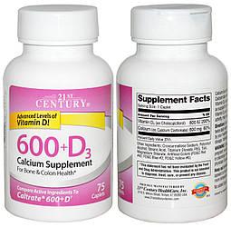 21st Century, Кальций, 600 мг и Витамин Д3, 800 МЕ, 75 таблеток