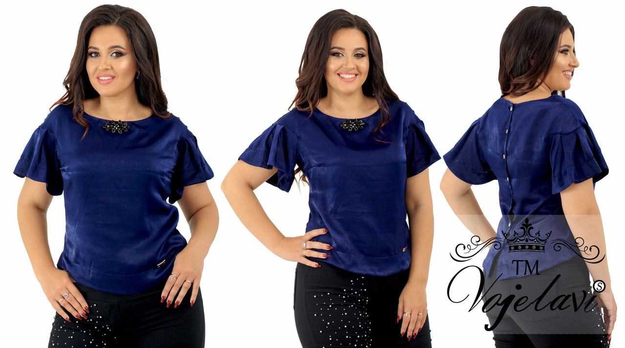 Женская блузка сатин шёлк + шикарная брошка + планка украшение.