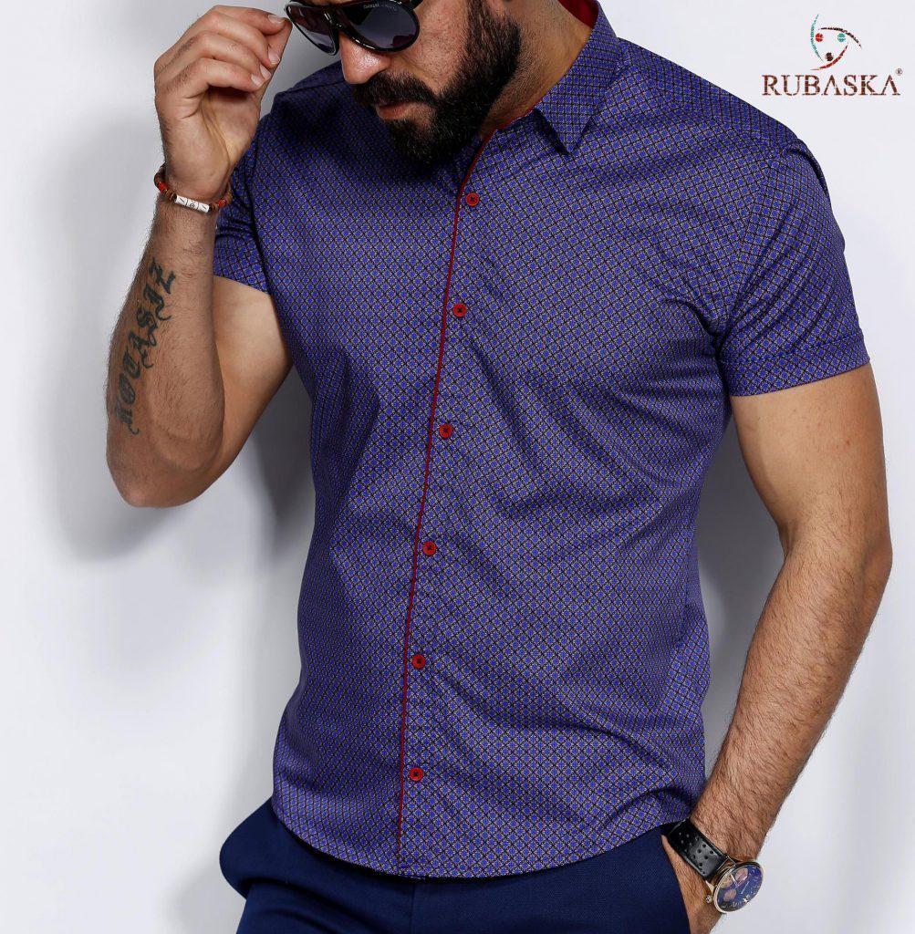 338f3a156a9 Мужская рубашка в узор с коротким рукавом  продажа