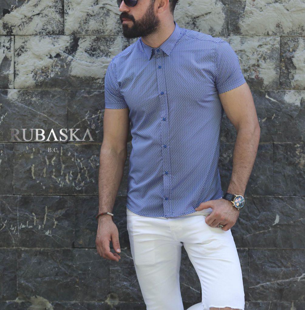 Мужская рубашка  в узор  с коротким рукавом