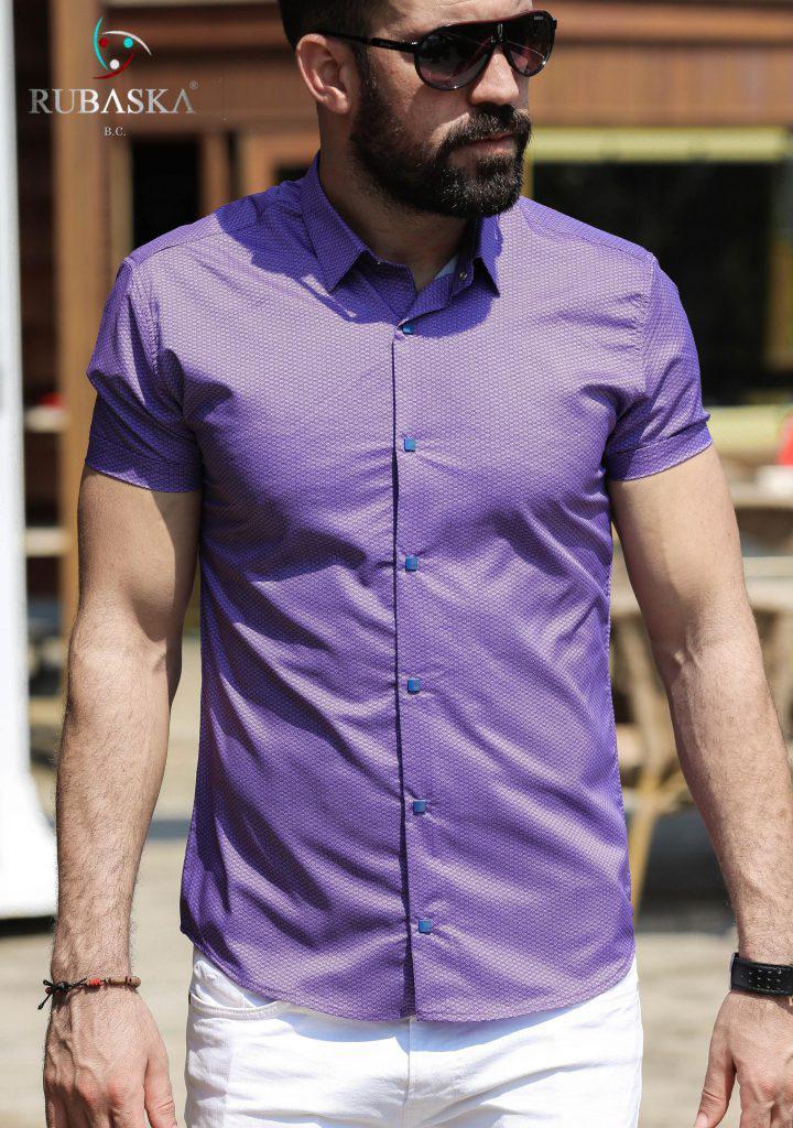 df21f40f40c Модная мужская рубашка в узор с коротким рукавом - Интернет-магазин