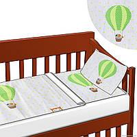 """Детское постельное белье 3 предмета на резинке """"Сова, птички"""" - цвет бело-зелёный ,бело-голубой,бело-розовый!"""