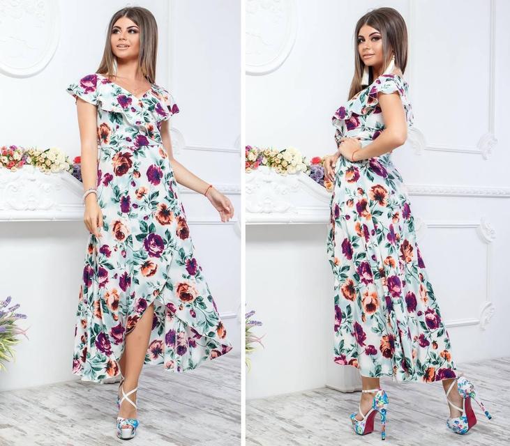Нарядное, длинное платье на запах, модель 111, принт бордово-желтые розы на белом фоне