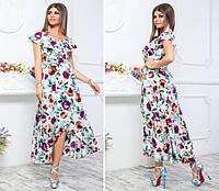 Нарядное, длинное платье на запах, модель 111, принт бордово-желтые розы на белом фоне, фото 1