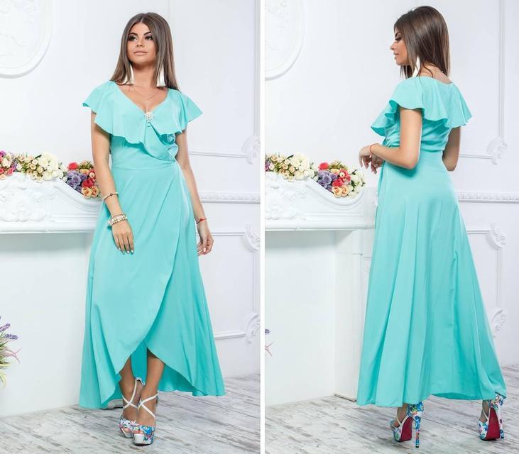 Нарядное, длинное платье на запах, модель 111,цвет Голубой