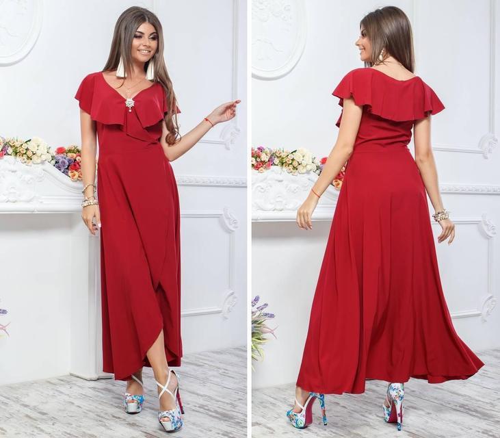 Нарядное, длинное платье на запах, модель 111,цвет Бордовый