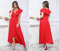 Нарядное, длинное платье на запах, модель 111,цвет Красный, фото 1