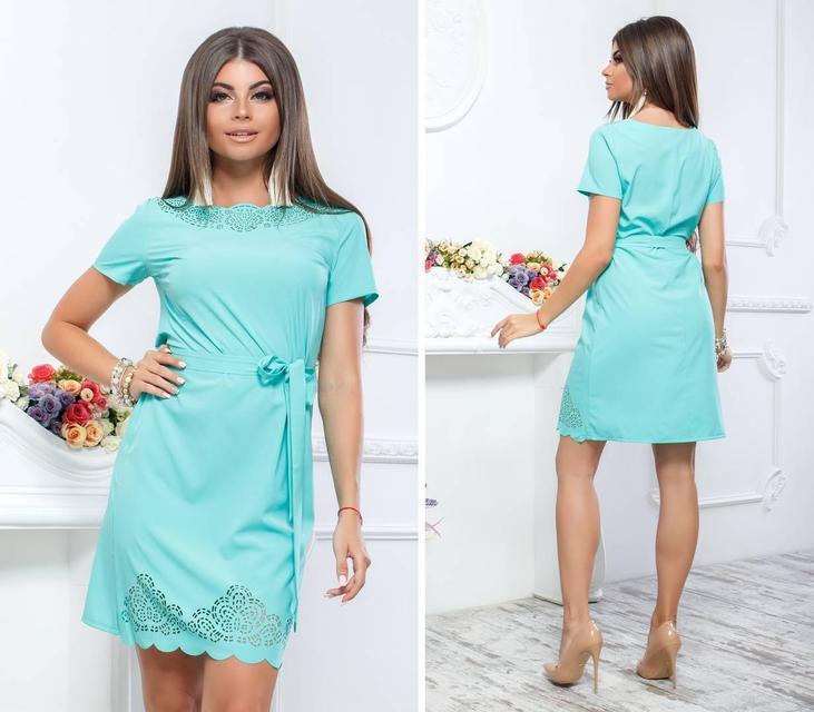 Платье с выбитым рисунком , модель 109, цвет Голубой