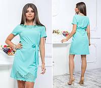 Платье с выбитым рисунком , модель 109, цвет Голубой, фото 1