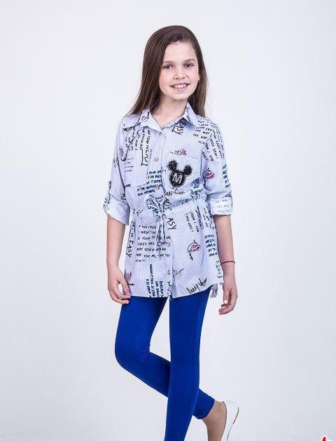 Детский костюм двойка для девочки рубашка+лосины, 134-152