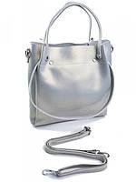 Женская кожаная сумка 1022 жемчужно-серая, фото 1