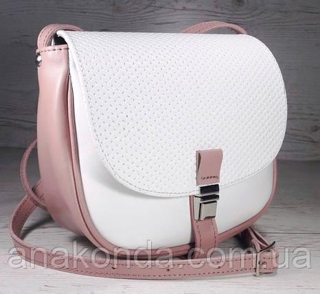 173-к Натуральная кожа, Сумка кросс-боди женская, на замочке, белый - пудровый розовый пудра, фото 2