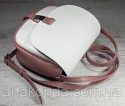 173-к Натуральная кожа, Сумка кросс-боди женская, на замочке, белый - пудровый розовый пудра, фото 3