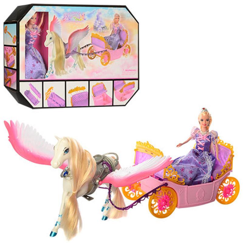 Подарочный набор Карета с лошадью и куклой, лошадь с крыльями, 68021