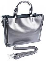 Женская кожаная сумочка 650 жемчужно-серая, фото 1