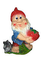 Садовая фигура Гном с клубникой и зайцем 52 см