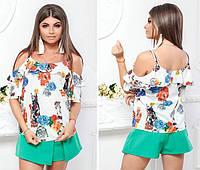 Женственная блузка модель 108, принт оранжево-голубые цветы на белом фоне , фото 1