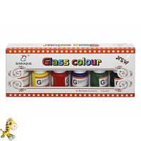 Краски для стекла, 6 цветов по 25мл  нейлоновая кисточка,в кор.10244см