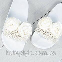 Только 39 размер! Женские белые шлепанцы с декором, натур.кожа