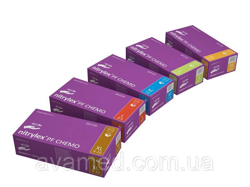 Рукавички Nitrylex PF CHEMO, нітрилові оглядові нестерильні, неопудрені