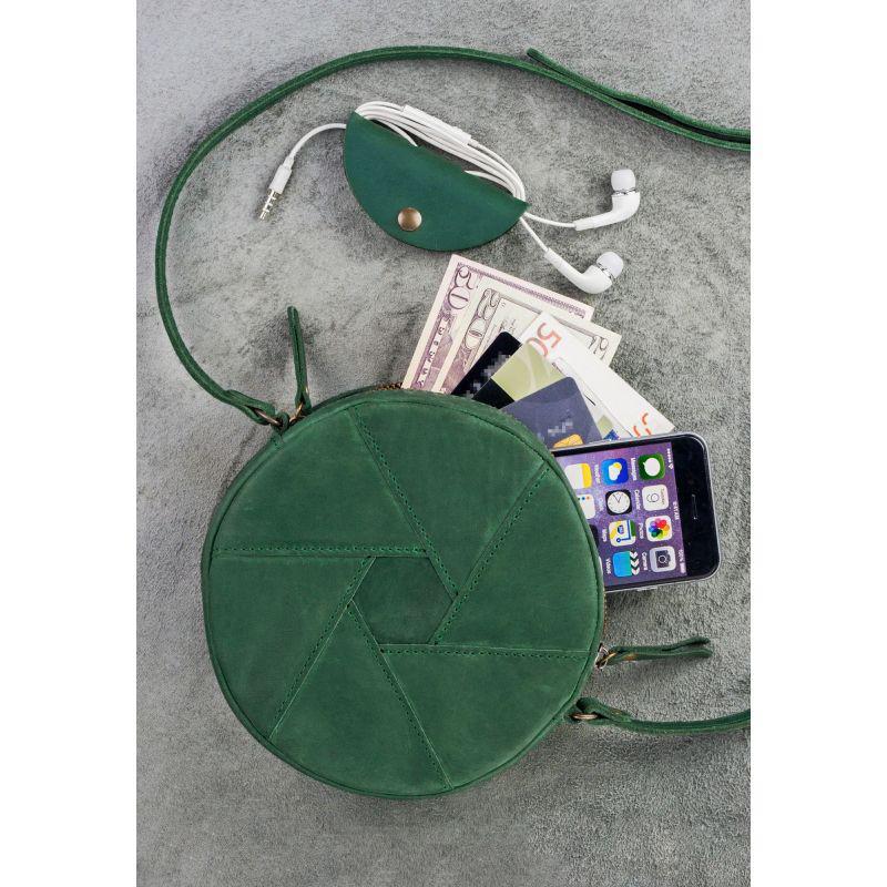 Кожаная круглая женская сумка Бон-Бон зеленая, фото 1