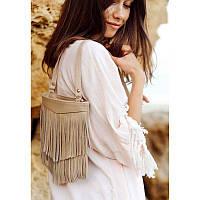 Кожаная женская сумка с бахромой мини-кроссбоди Fleco светло-бежевая, фото 1
