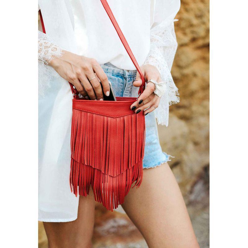 Кожаная женская сумка с бахромой мини-кроссбоди Fleco красная, фото 1