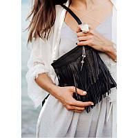 Кожаная женская сумка с бахромой мини-кроссбоди Fleco черная, фото 1