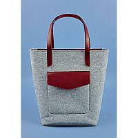 Фетровая женская сумка Шоппер D.D. с кожаными бордовыми вставками, фото 1