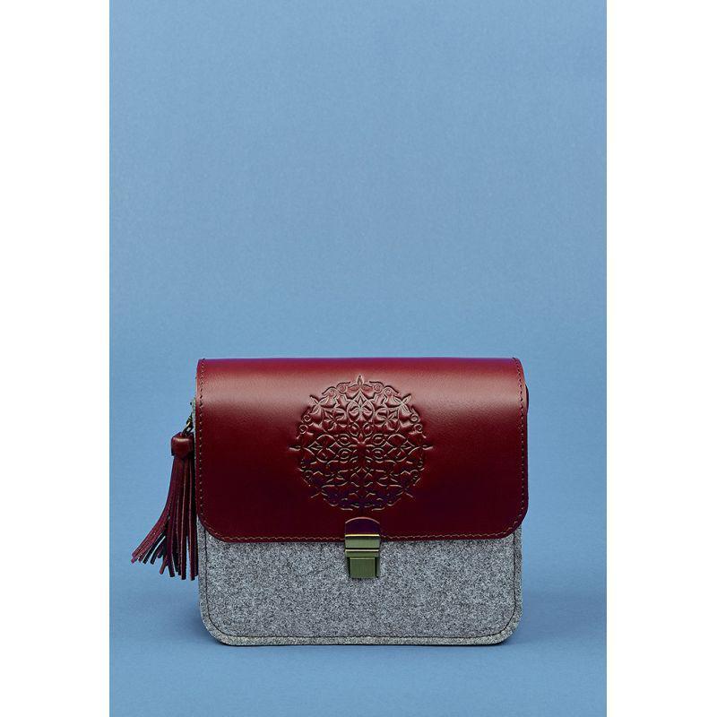 Фетровая женская бохо-сумка Лилу с кожаными бордовыми вставками, фото 1