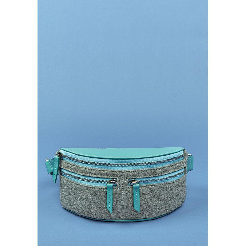 Фетровая женская поясная сумка Spirit с кожаными бирюзовыми вставками, фото 1