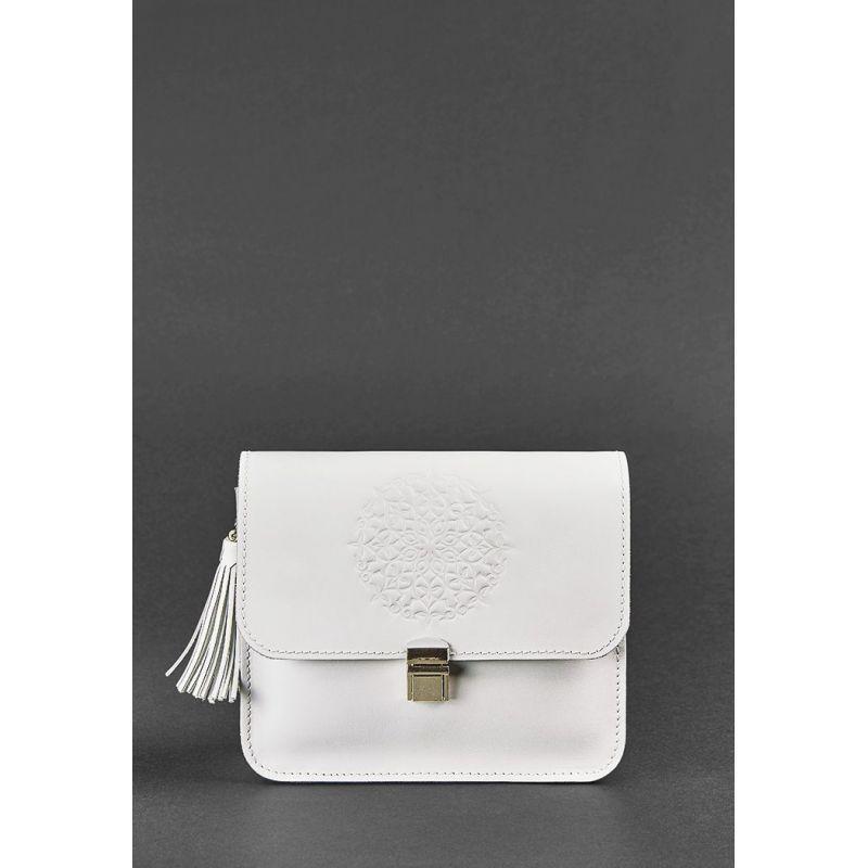 Кожаная женская бохо-сумка Лилу белая, фото 1