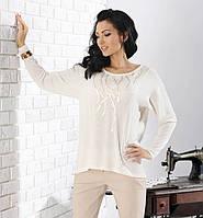 Женская блуза свободного кроя цвета экри из вискозы. Модель Ulana Top-Bis, коллекция осень-зима 2014-2015