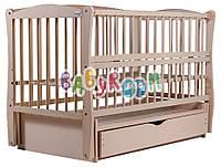 Кровать Babyroom Еліт резьба маятник, ящик, откидной бок DER-7  бук слоновая кость, фото 1