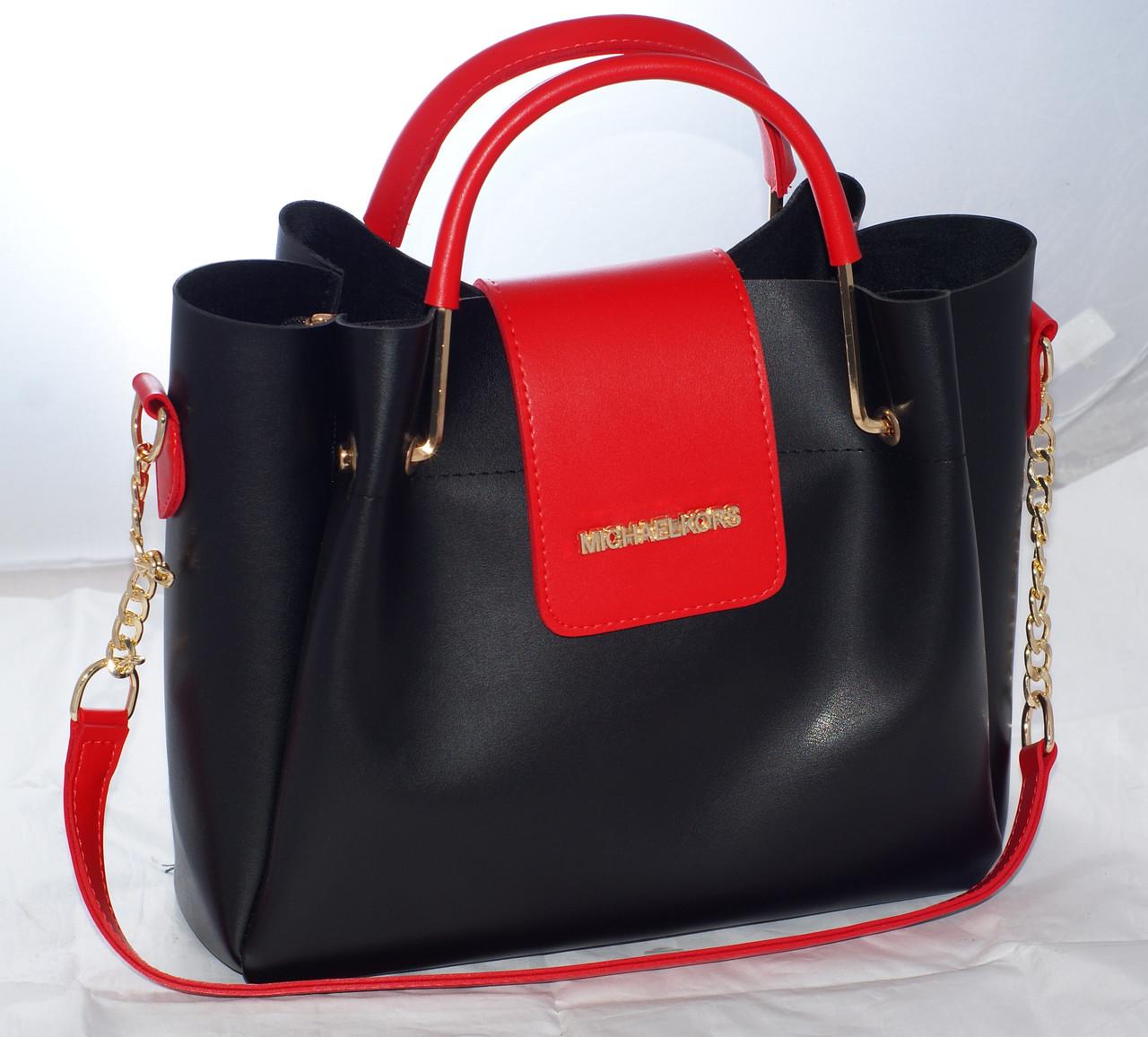 98699b8d8a9a Женская сумка Michael Kors (Майкл Корс), черная с красным  продажа ...