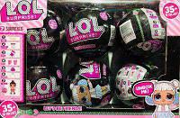 Куклы Лол LOL Black, Кукла в шаре LOL Surprise, черный шар, набор из 6 штук, фото 1